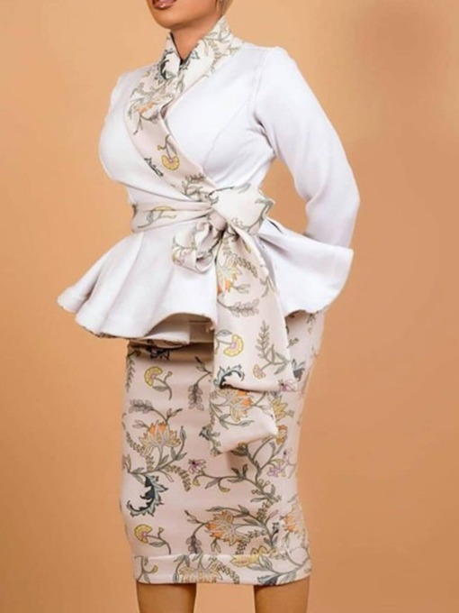 Floral Bowknot Skirt Fashion Lace-Up Women's Two Piece Sets