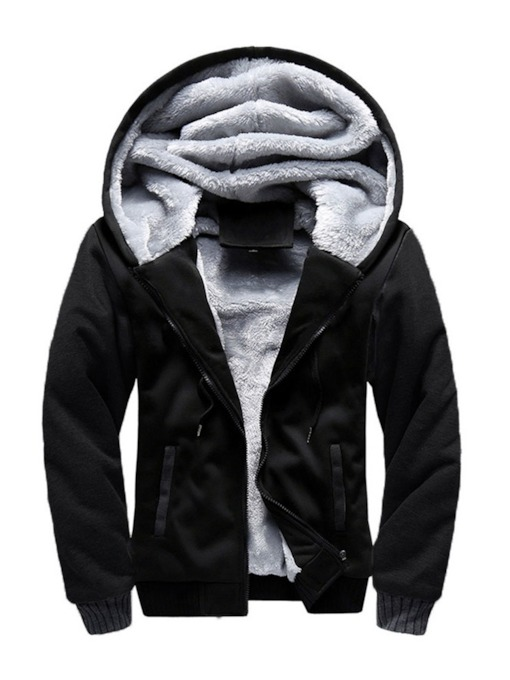 Cardigan Color Block Patchwork Fleece Zipper Men's Hoodies