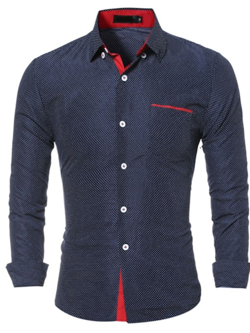 Polka Dots Casual Print Lapel Fall Men's Shirt