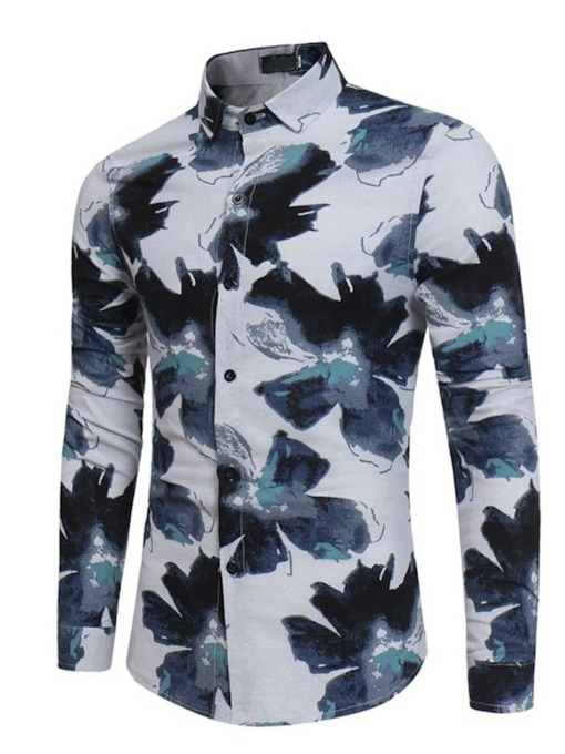Print Floral Casual Lapel Single-Breasted Slim Men's Shirt