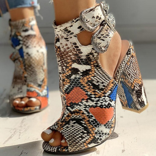 Buckle Chunky Heel Peep Toe Color Block Sandals