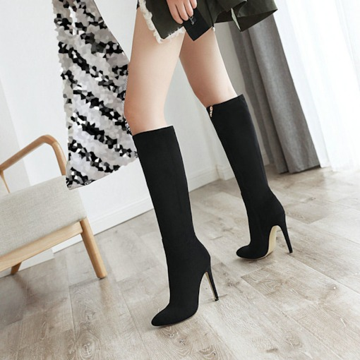 Stiletto Heel Pointed Toe Plain Side Zipper Casual Boots