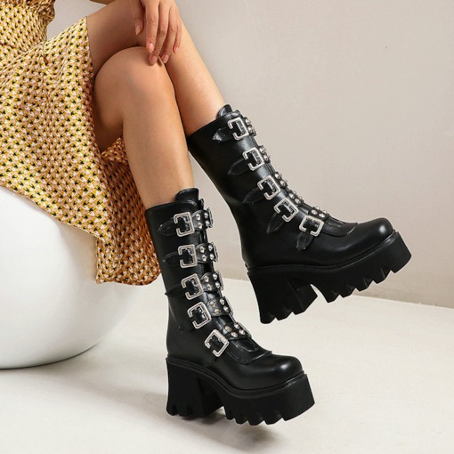 Round Toe Plain Back Zip Buckle Boots