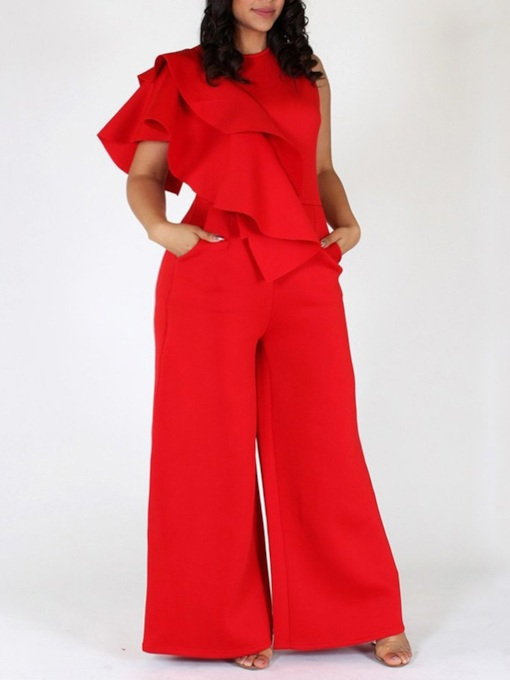 Falbala Plain Elegant Full Length Wide Legs Women's Jumpsuit