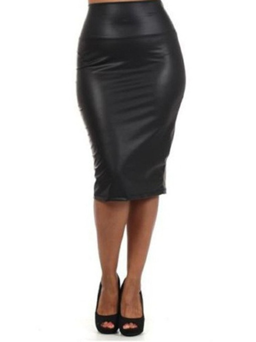 Mid-Calf Plain Bodycon High Waist Women's Skirt