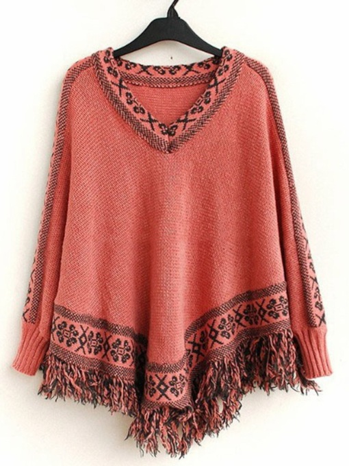 Knitted Fabric Casual Color Block Fall Women's Cape