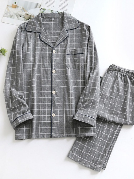 Long Sleeve Casual Plaid Button Sleep Top Men's Pajamas Sets