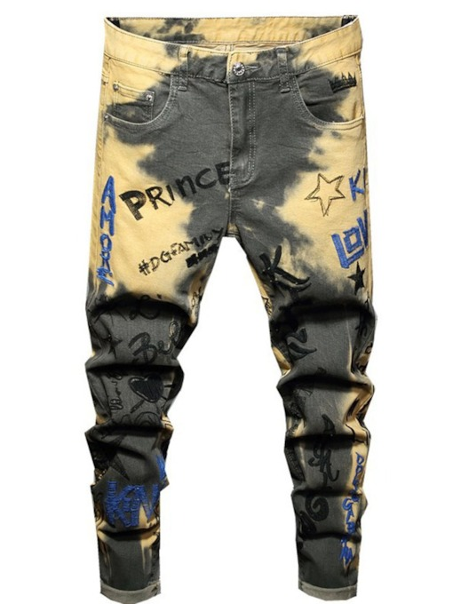 Letter Pencil Pants Embroidery European Men's Jeans