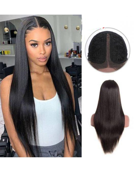 Women's T-Part Wig Straight Human Hair Lace 150% 26 Inches Wigs
