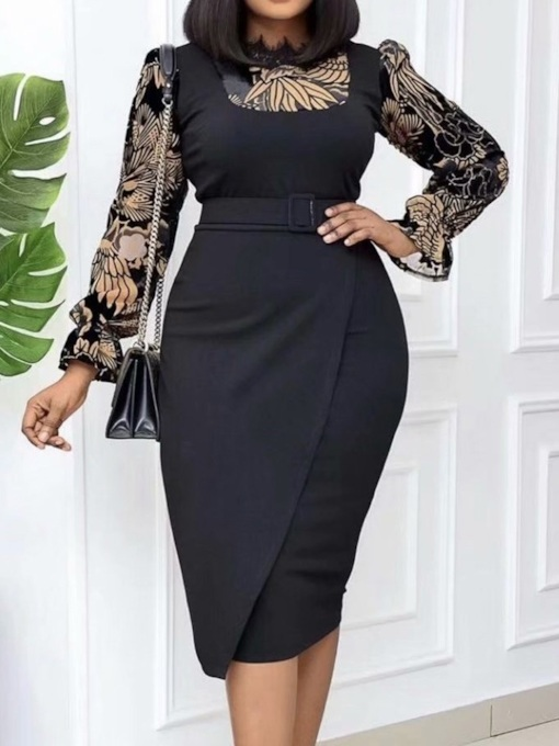 Long Sleeve Print Mid-Calf Office Lady Women's Dress