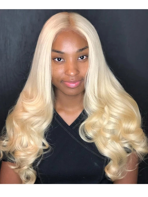 Blonde Lace Front Wig Body Wave 613 Hair T Part Human Hair 26 Inches 150% Wigs