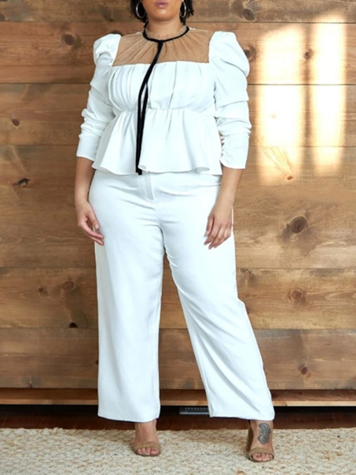 Plus Size Shirt Plain Patchwork Stand Collar Women's Two Piece Sets