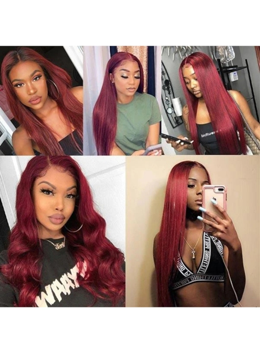 99J Color Burgundy Middle Part Lace Front Wig Colored Human Hair Wigs 30 Inches