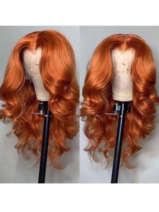 Ombre Wigs Ginger Color Middle T Part Lace Body Wave Human Hair 24 Inches 150% Wigs