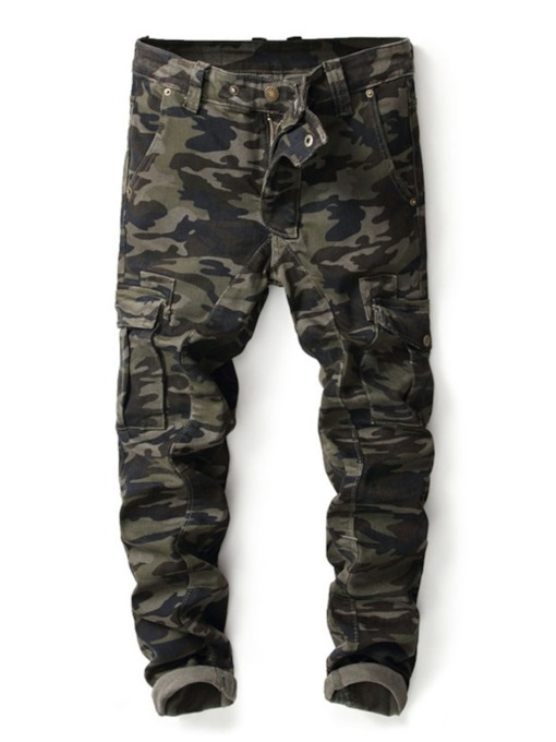 Camouflage Straight Print Casual Men's Jeans