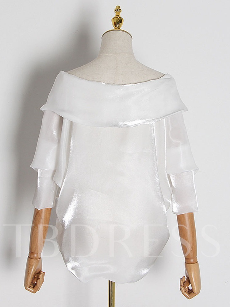 Plain Asymmetric Nine Points Sleeve Women's Blouse