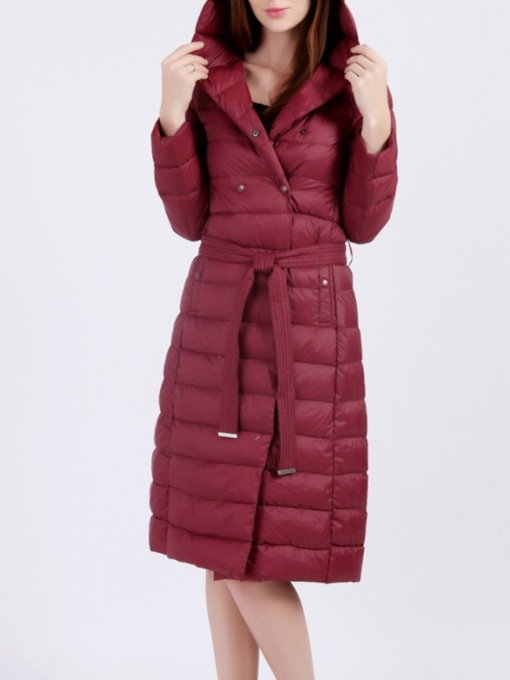 Thin Slim Patchwork Double-Breasted Long Women's Cotton Padded Jacket