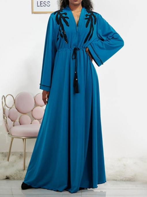 Lace-Up Floor-Length V-Neck Long Sleeve Color Block Women's Dress