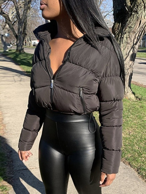 Zipper Pocket Thick Slim Short Women's Cotton Padded Jacket