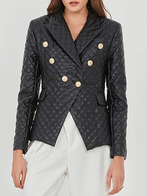 Long Sleeve Double-Breasted Notched Lapel Plain Regular Women's Casual Blazer
