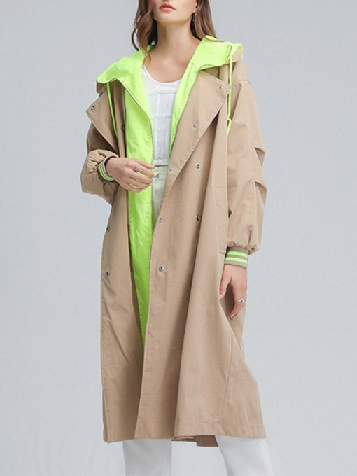 Double-Breasted Patchwork Long Hooded Preppy Women's Trench Coat