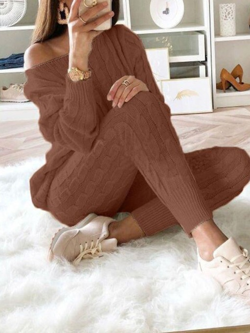 Sweet Sweater Casual Plain Pullover Women's Two Piece Sets