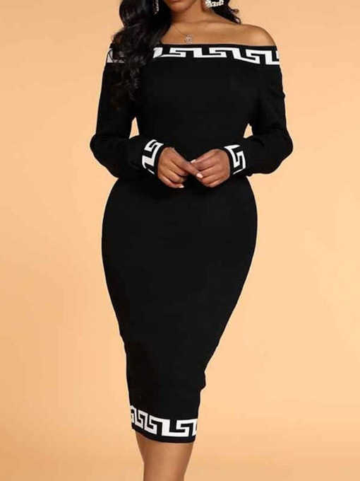Off Shoulder Mid-Calf Patchwork Long Sleeve Geometric Women's Dress