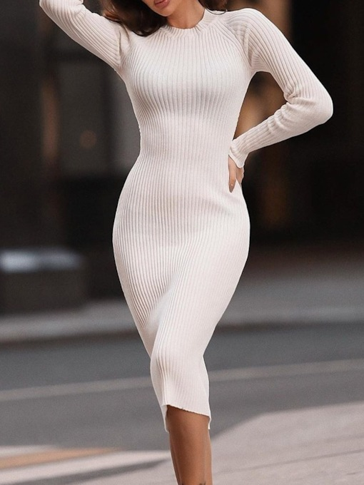 Mid-Calf Long Sleeve Stand Collar Backless Pullover Women's Dress