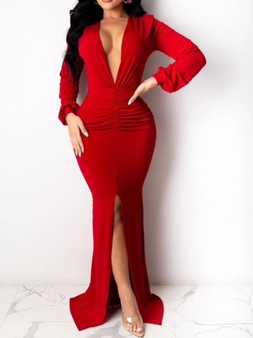 Plain Floor-Length V-Neck Long Sleeve Split Bodycon Women's Dress