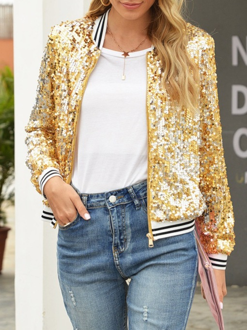 Slim Sequins Long Sleeve Zipper Fall Women's Jacket