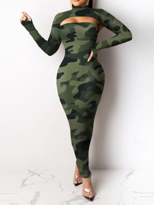 Dress Sexy Patchwork Camouflage Pullover Women's Two Piece Sets