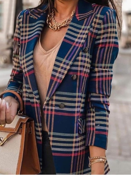 Double-Breasted Color Block Notched Lapel Long Sleeve Fall Women's Casual Blazer