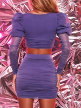 Party/Cocktail Skirt Plain Mesh Pullover Women's Two Piece Sets