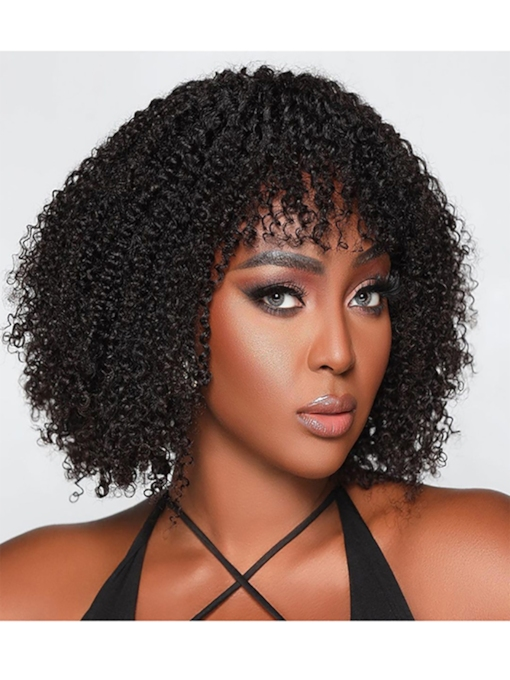 Afro Kinky Curly Women's Medium Hairstyles Curl Human Hair Capless Wigs With Bangs 120% 14 Inches Wigs