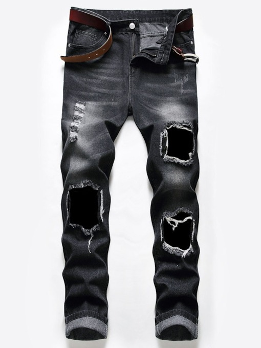 Fashion Worn Hole Straight Mid Waist Men's Jeans