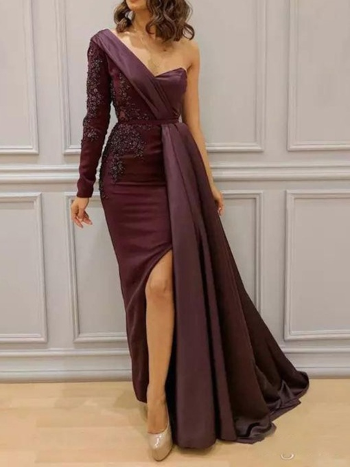 Floor-Length Split Long Sleeve Bodycon Women's Dress