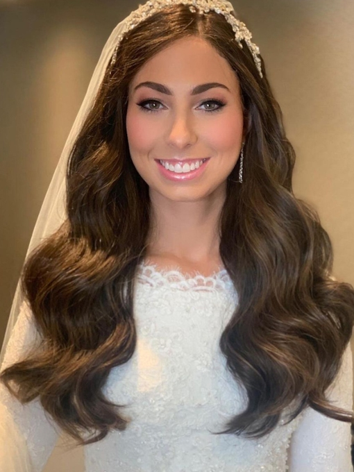 Full Head Wedding Women's Body Wavy Human Hair Wigs Lace Front Wigs 24 Inches