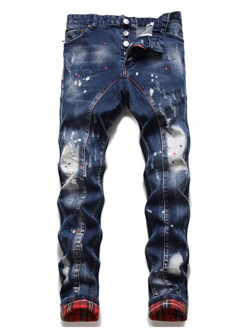 Patchwork Plaid Button Men's Jeans
