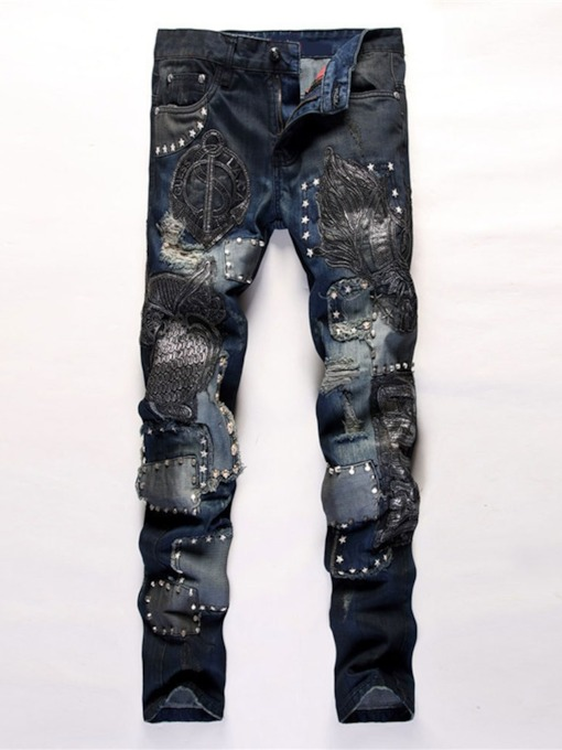 Patchwork Straight Mid Waist Men's Jeans