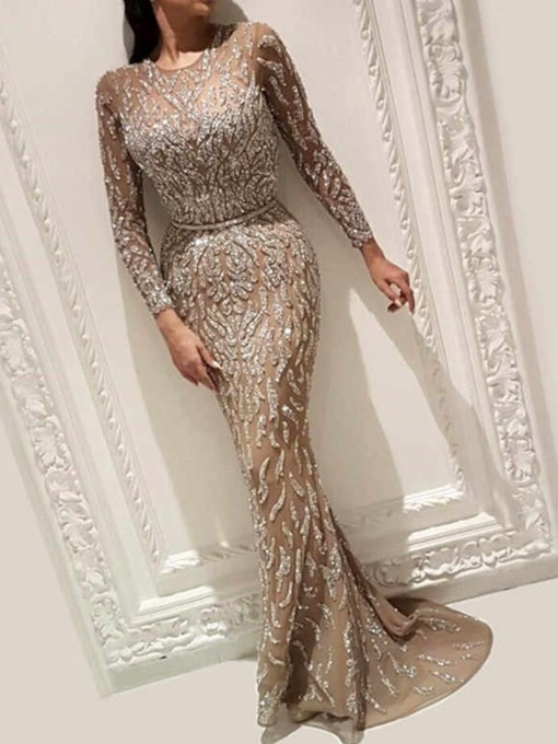 Floor-Length Nine Points Sleeve Round Neck Sequins Pullover Women's Dress