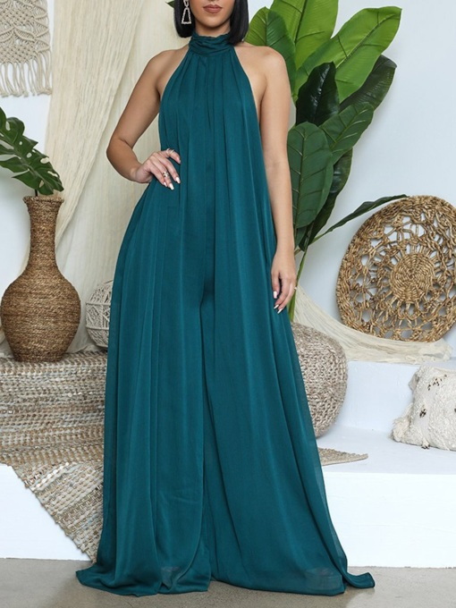 Full Length Party/Cocktail Plain Backless High Waist Women's Jumpsuit