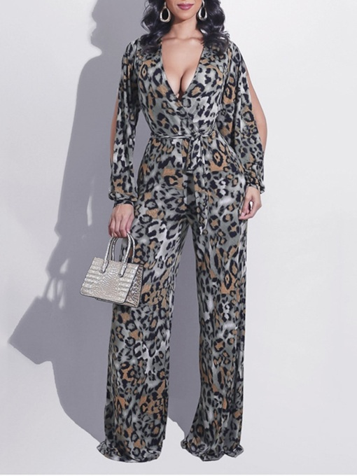 Fashion Full Length Hollow Leopard Loose Women's Jumpsuit