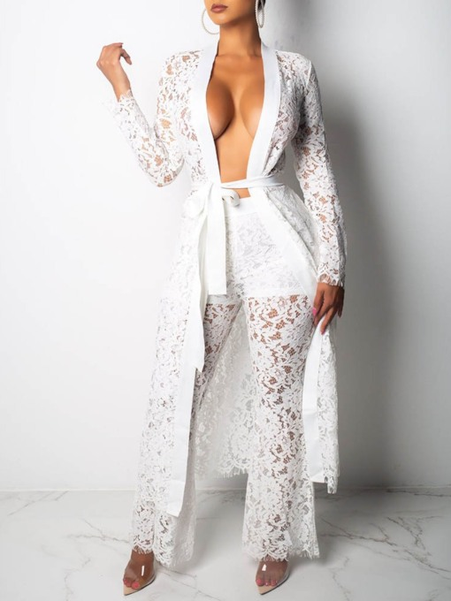 Coat Lace Floral Sexy V-Neck Women's Two Piece Sets