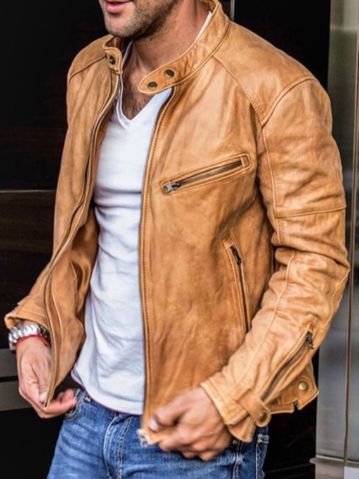 Fashion Plain Standard Stand Collar Zipper Men's Leather Jacket
