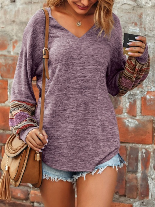 Patchwork Regular Lantern Sleeve Long Sleeve Women's Sweatshirts