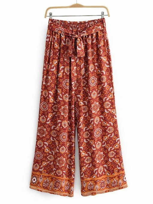Fashion Print Floral Loose Full Length Women's Casual Pants