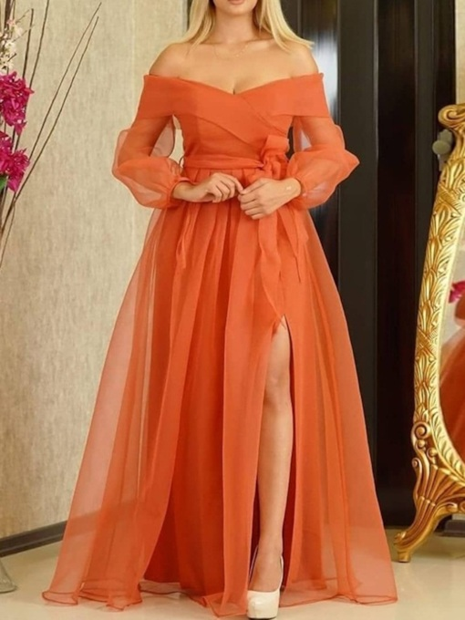 Fashion Long Sleeve Split Floor-Length High Waist Women's Dress