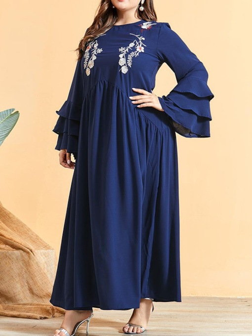 Floor-Length Embroidery Long Sleeve Round Neck A-Line Women's Dress