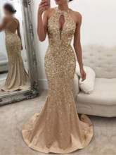 Sleeveless Sequins Floor-Length Dress Women's Dress