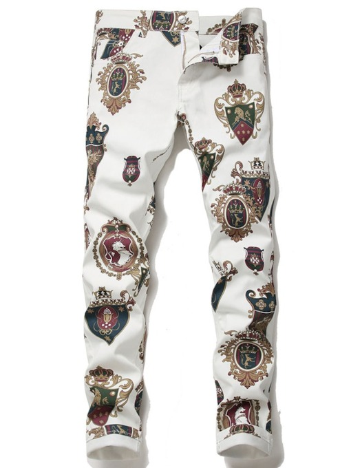 Floral Print Straight Casual Men's Jeans